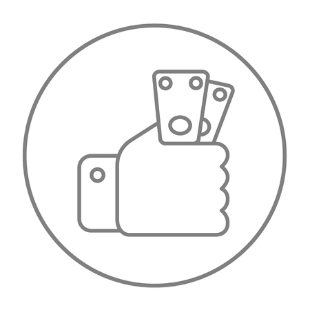 Hand holding money line icon for web, mobile and infographics. Vector grey thin line icon in the circle isolated on white background. Illustration