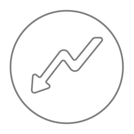 downward: Arrow downward line icon for web, mobile and infographics. Vector grey thin line icon in the circle isolated on white background. Illustration
