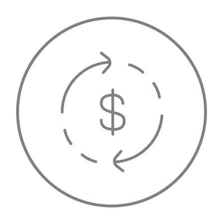 Dollar symbol with arrows around line icon for web, mobile and infographics. Vector grey thin line icon in the circle isolated on white background.