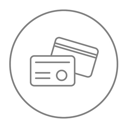 career entry: Identification card line icon for web, mobile and infographics. Vector grey thin line icon in the circle isolated on white background.