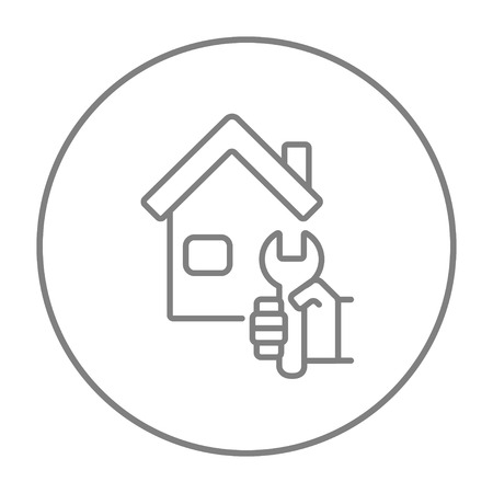 House with wrench line icon for web, mobile and infographics. Vector grey thin line icon in the circle isolated on white background.