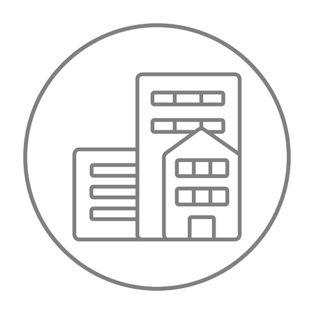 Residential buildings line icon for web, mobile and infographics. Vector grey thin line icon in the circle isolated on white background. Illustration