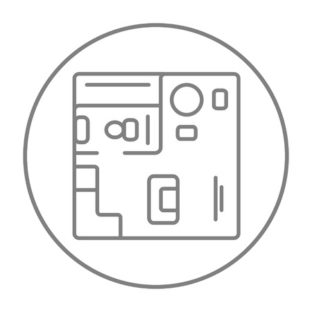 cutaway drawing: House interior with furniture line icon for web, mobile and infographics. Vector grey thin line icon in the circle isolated on white background.