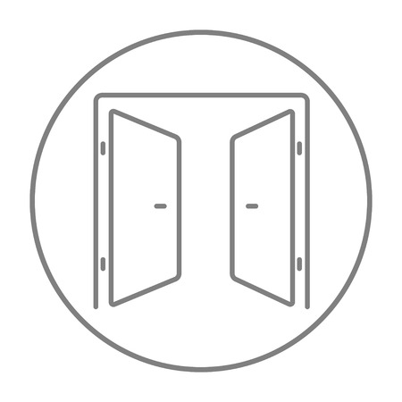 double entry: Open doors line icon for web, mobile and infographics. Vector grey thin line icon in the circle isolated on white background.