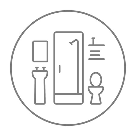 Bathroom line icon for web, mobile and infographics. Vector grey thin line icon in the circle isolated on white background.