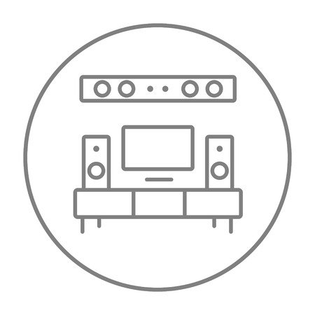 home theater: TV flat screen and home theater line icon for web, mobile and infographics. Vector grey thin line icon in the circle isolated on white background. Illustration