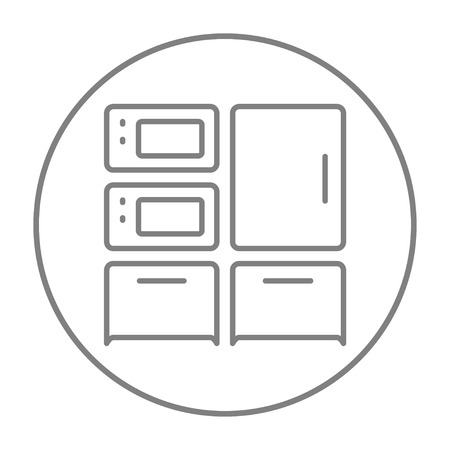 Household appliances line icon for web, mobile and infographics. Vector grey thin line icon in the circle isolated on white background. 向量圖像