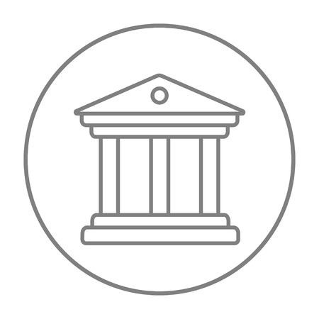 academia: Museum line icon for web, mobile and infographics. Vector grey thin line icon in the circle isolated on white background.