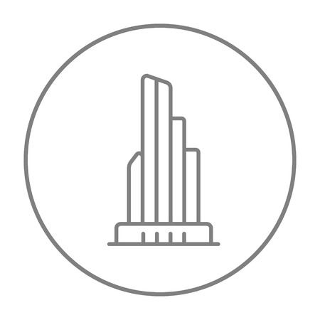 multi storey: Skyscraper office building line icon for web, mobile and infographics. Vector grey thin line icon in the circle isolated on white background.