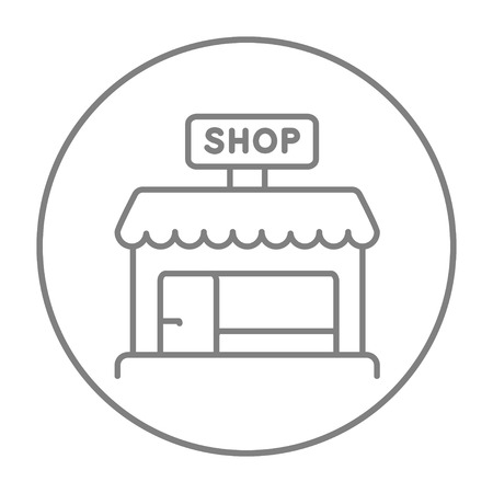 Shop store line icon for web, mobile and infographics. Vector grey thin line icon in the circle isolated on white background.