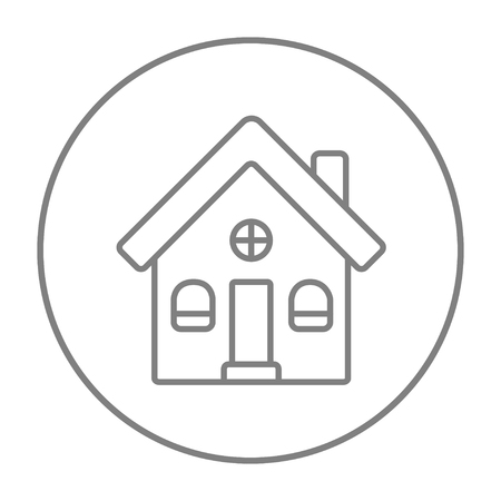 detached: Detached house line icon for web, mobile and infographics. Vector grey thin line icon in the circle isolated on white background.
