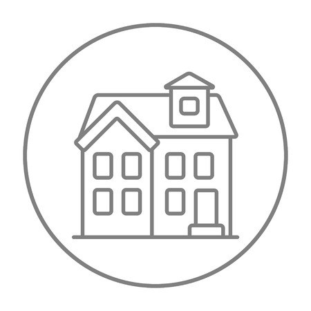 two storey house: Two storey detached house line icon for web, mobile and infographics. Vector grey thin line icon in the circle isolated on white background. Illustration