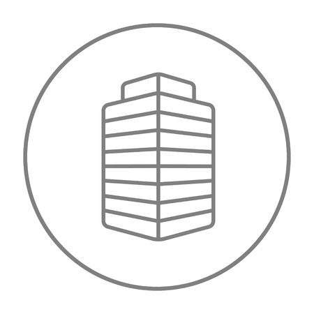 sky scraper: Office building line icon for web, mobile and infographics. Vector grey thin line icon in the circle isolated on white background.