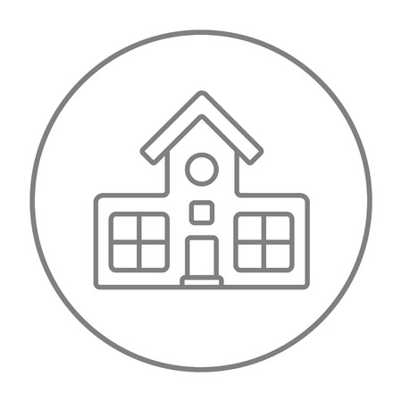 Building line icon for web, mobile and infographics. Vector grey thin line icon in the circle isolated on white background. Ilustracja