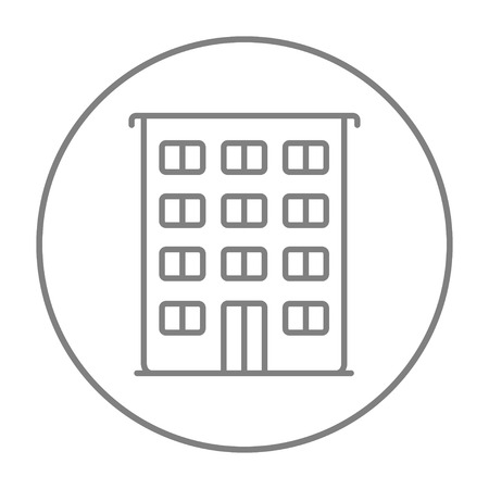 housing project: Residential building line icon for web, mobile and infographics. Vector grey thin line icon in the circle isolated on white background.