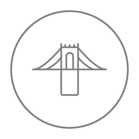 Bridge line icon for web, mobile and infographics. Vector grey thin line icon in the circle isolated on white background.