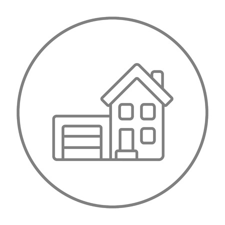 domestic garage: House with garage line icon for web, mobile and infographics. Vector grey thin line icon in the circle isolated on white background.