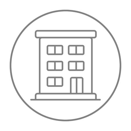 cemented: Residential buildings line icon for web, mobile and infographics. Vector grey thin line icon in the circle isolated on white background. Illustration