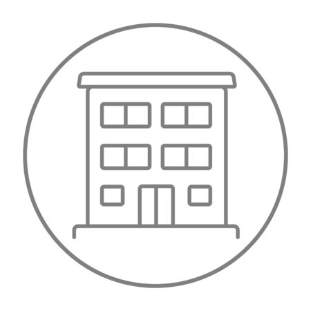 housing project: Residential buildings line icon for web, mobile and infographics. Vector grey thin line icon in the circle isolated on white background. Illustration