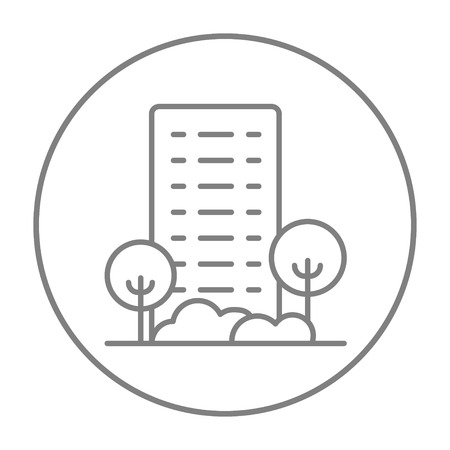 housing project: Residential building with trees line icon for web, mobile and infographics. Vector grey thin line icon in the circle isolated on white background. Illustration