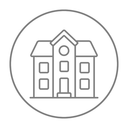 two storey: Two storey detached house line icon for web, mobile and infographics. Vector grey thin line icon in the circle isolated on white background. Illustration