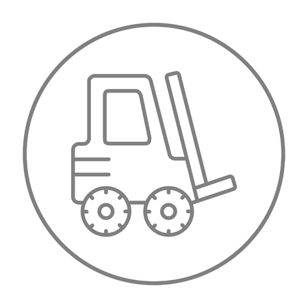 distribution picking up: Forklift line icon for web, mobile and infographics. Vector grey thin line icon in the circle isolated on white background. Illustration