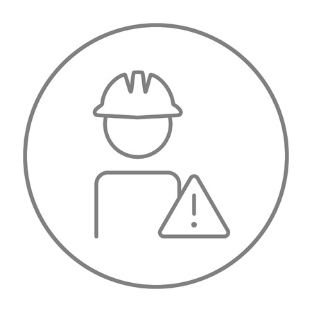 Worker in hard hat with caution sign line icon for web, mobile and infographics. Vector grey thin line icon in the circle isolated on white background. Stock Illustratie