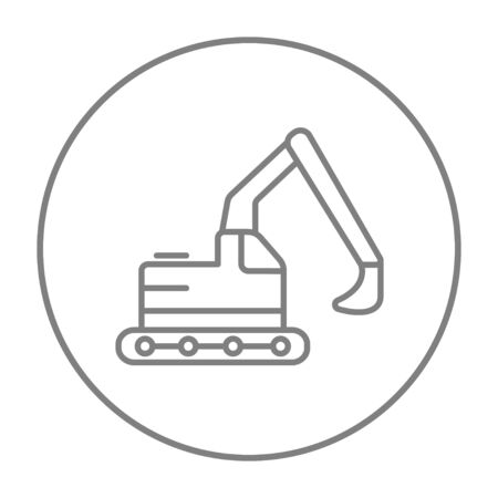 dig up: Excavator line icon for web, mobile and infographics. Vector grey thin line icon in the circle isolated on white background. Illustration