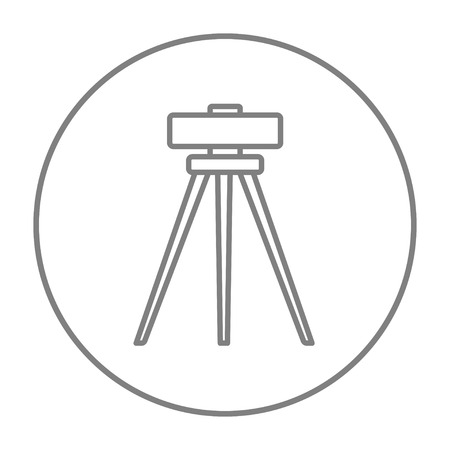 levelling: Theodolite on tripod line icon for web, mobile and infographics. Vector grey thin line icon in the circle isolated on white background.