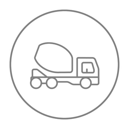 concrete mixer truck: Concrete mixer truck line icon for web, mobile and infographics. Vector grey thin line icon in the circle isolated on white background. Illustration
