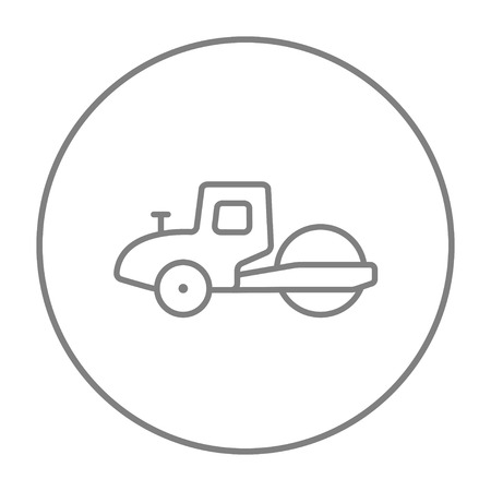 steamroller: Road roller line icon for web, mobile and infographics. Vector grey thin line icon in the circle isolated on white background.