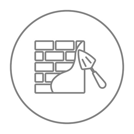 row houses: Spatula with brickwall line icon for web, mobile and infographics. Vector grey thin line icon in the circle isolated on white background.
