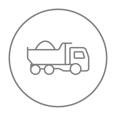 heavy load: Dump truck line icon for web, mobile and infographics. Vector grey thin line icon in the circle isolated on white background. Illustration