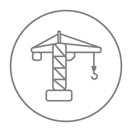 Bouw kraan lijn pictogram voor web, mobiel en infographics. Vector grijs dun lijnpictogram in de cirkel die op witte achtergrond wordt geïsoleerd.