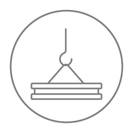 Crane hook holding concrete slab line icon for web, mobile and infographics. Vector grey thin line icon in the circle isolated on white background. Illustration
