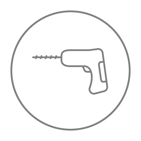 hammer drill: Hammer drill line icon for web, mobile and infographics. Vector grey thin line icon in the circle isolated on white background.