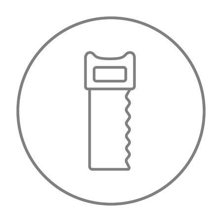 sawn: Saw line icon for web, mobile and infographics. Vector grey thin line icon in the circle isolated on white background.