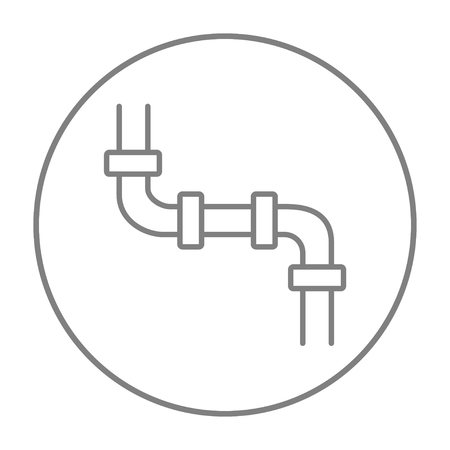Water pipeline line icon for web, mobile and infographics. Vector grey thin line icon in the circle isolated on white background. 일러스트