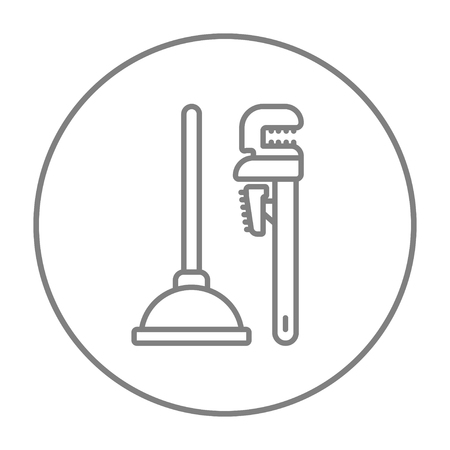 sanitaryware: Pipe wrenches and plunger line icon for web, mobile and infographics. Vector grey thin line icon in the circle isolated on white background.