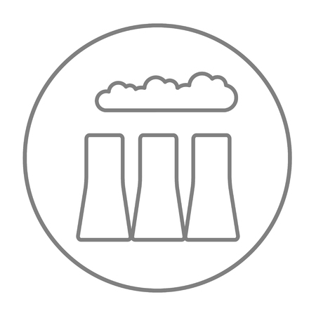 distill: Factory pipes line icon for web, mobile and infographics. Vector grey thin line icon in the circle isolated on white background.