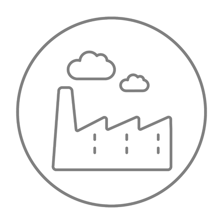 toxic cloud: Factory line icon for web, mobile and infographics. Vector grey thin line icon in the circle isolated on white background. Illustration