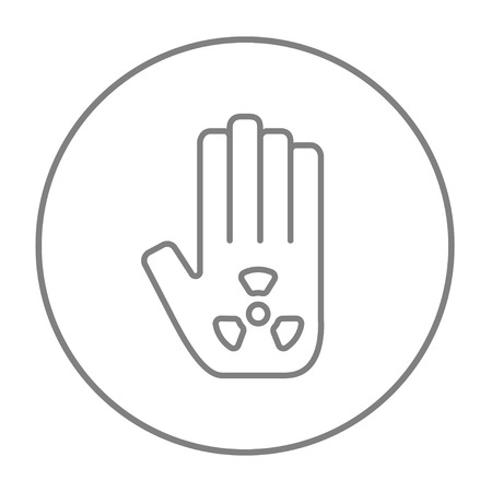 ionizing: Ionizing radiation sign on a palm line icon for web, mobile and infographics. Vector grey thin line icon in the circle isolated on white background.