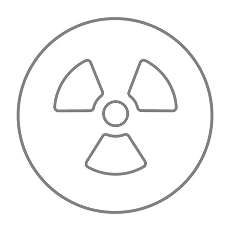 ionizing radiation risk: Ionizing radiation sign line icon for web, mobile and infographics. Vector grey thin line icon in the circle isolated on white background.