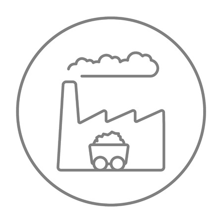 environmental hazard: Factory line icon for web, mobile and infographics. Vector grey thin line icon in the circle isolated on white background. Illustration