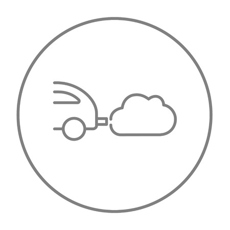 spewing: Car spewing polluting exhaust line icon for web, mobile and infographics. Vector grey thin line icon in the circle isolated on white background.