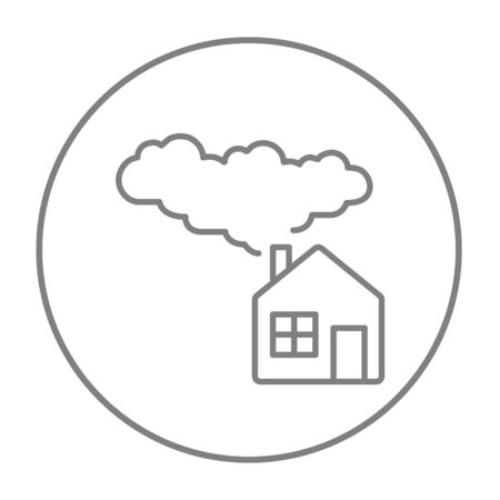 House with a chimney and smoke line icon for web, mobile and infographics. Vector grey thin line icon in the circle isolated on white background. Illustration