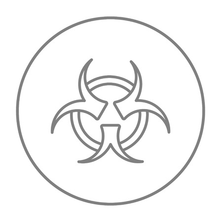 pandemia: Bio hazard sign line icon for web, mobile and infographics. Vector grey thin line icon in the circle isolated on white background. Illustration
