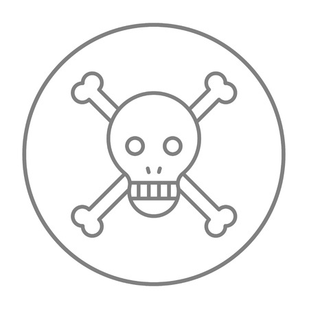 Skull and cross bones line icon for web, mobile and infographics. Vector grey thin line icon in the circle isolated on white background.