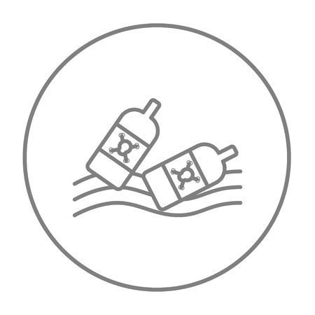 harmful to the environment: Bottles floating in the water line icon for web, mobile and infographics. Vector grey thin line icon in the circle isolated on white background.
