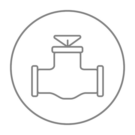 Gas pipe valve line icon for web, mobile and infographics. Vector grey thin line icon in the circle isolated on white background.